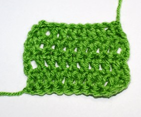 Normal double crochet with gaps in between each stitch.
