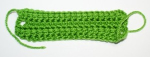 Swatch of linked double crochet.