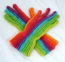 Use a Self-striping with long color runs to get this effect. I used Knit Picks Chroma Fingering in Lollipop.
