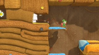 Yoshi frogging a hole in the wall.