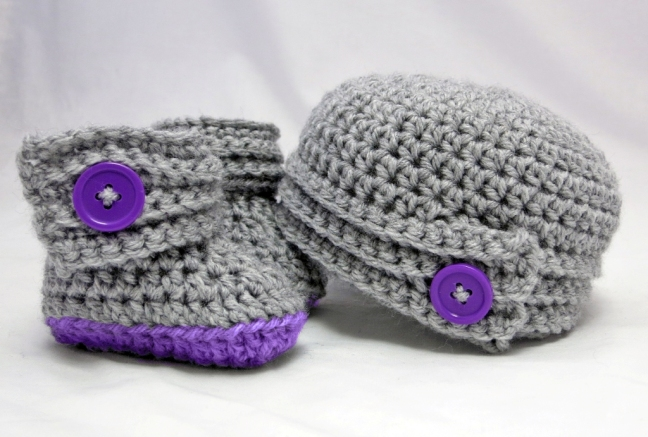 Buttoned Up Baby Beanie and Booties Gift Set